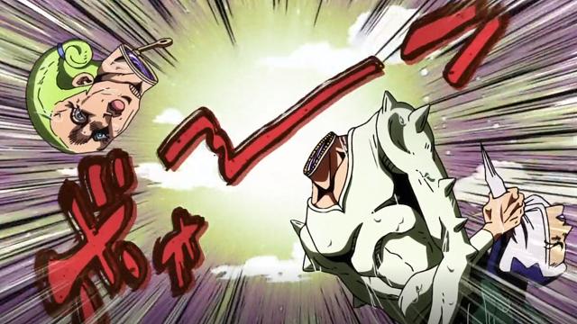 ジョジョの奇妙な冒険第6話ステッキーフィンガーズの攻撃を受けるズッケェロ