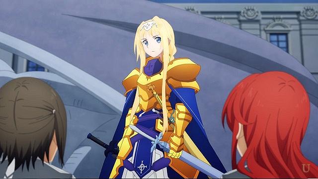 saoキリトたちの剣を軽々と持つアリス
