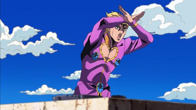 ジョジョの奇妙な冒険第7話ジェスチャーで危険を知らせるジョルノ