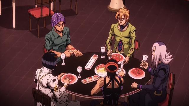 ジョジョの奇妙な冒険第18話食事するブチャラティチーム