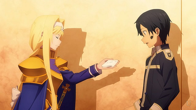 sao キリトに手巾を渡すアリス