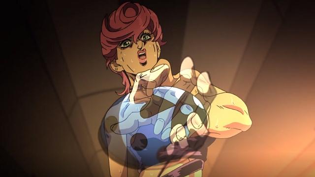 ジョジョの奇妙な冒険第25話てんとう虫のブローチを太極拳のような動きで拾いに行くトリッシュ