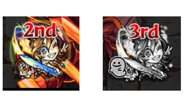 モンスト生きている状態なのが色鮮やかな画像左で、「ユーレイ」状態なのが色を失ってお化けマークが付いた画像右。