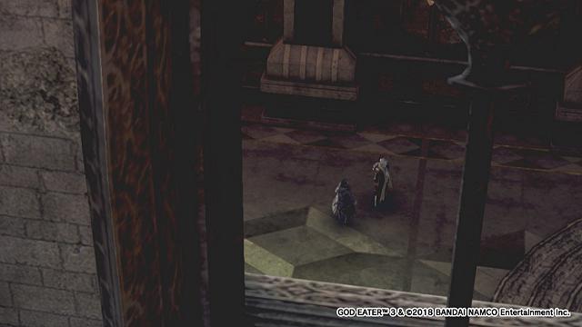 ゴッドイーター3旧市街地礼拝堂にいるアインとバラン船長