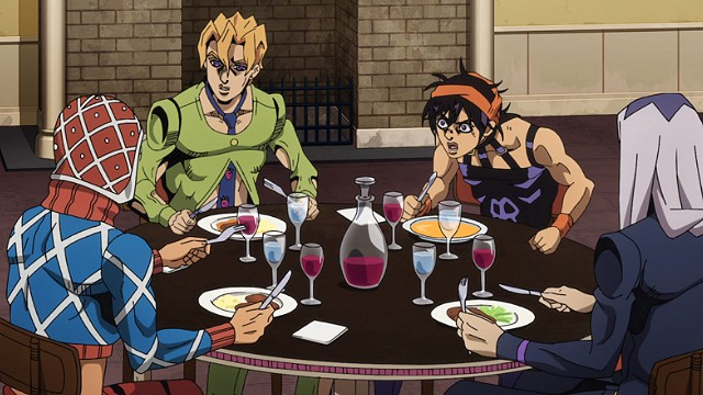 ジョジョの奇妙な冒険5部第38話テーブルを囲むミスタナランチャアバッキオフーゴ